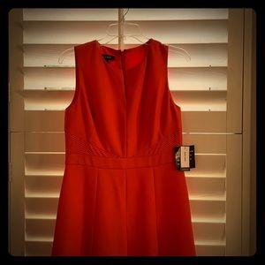 Orange summer dress pleated